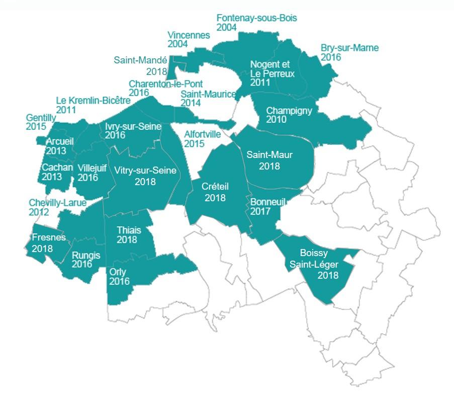 Communes collectant la taxe de séjour en Val-de-Marne