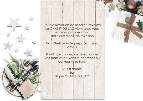 menu saint sylvestre chalet du lac